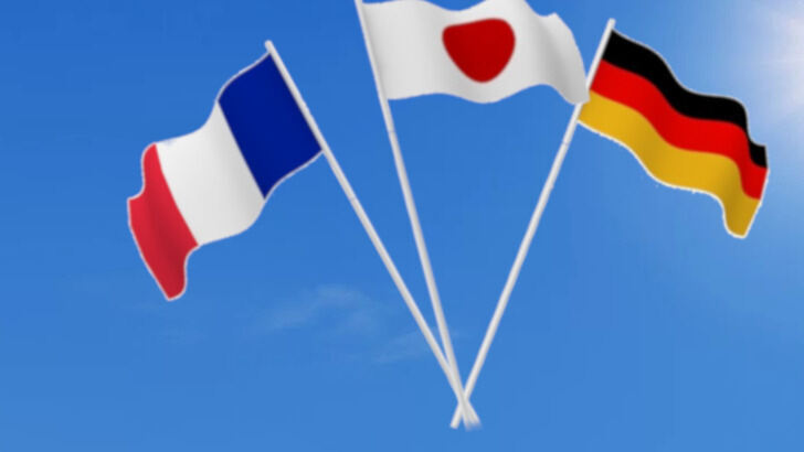 Flags from France, Japan and Germany